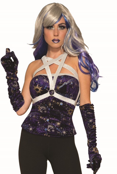 Celestial Blue Velvet Corset w Body Harness Adult Womens Costume Accessory