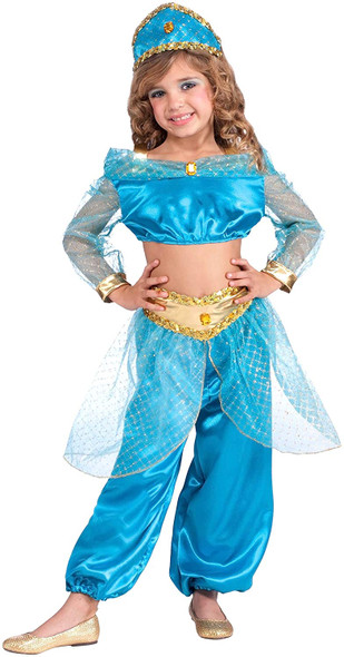 Arabian Princess Costume Jumpsuit Girls Jasmine Inspired Fancy Dress Large