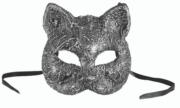 Antique Silver Kitty Cat Half Mask Venetian Masquerade Costume Accessory