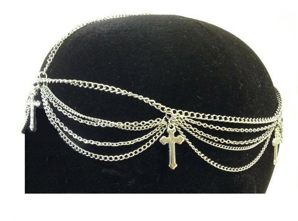 Head Chain Silver Tone Hair Cross Accessory Jewelry Boho Trendy Bridal Clear Gem