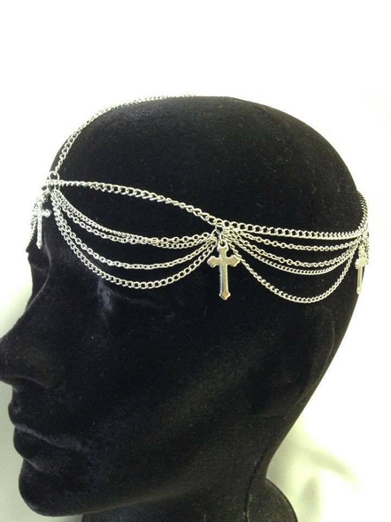 Head Chain Silver Tone Hair Cross Accessory Jewelry Boho Trendy Bridal Clear Gem