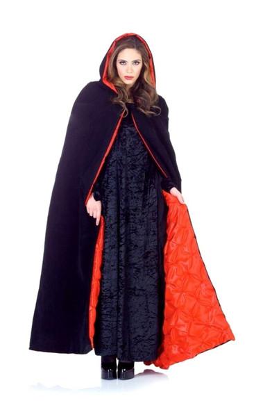 """63"""" Deluxe Black Velvet Red Satin Pintucked Lining Hooded Cape Costume Standard"""