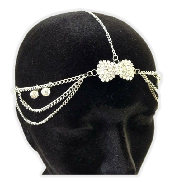 Head Chain Silver Tone Rhinestone Hair Bow Accessory Jewelry Boho Trendy Bridal
