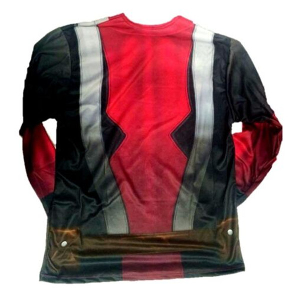 Men's Marvel Deadpool Costume Long Sleeve Shirt Adult Comics Book Superhero XL