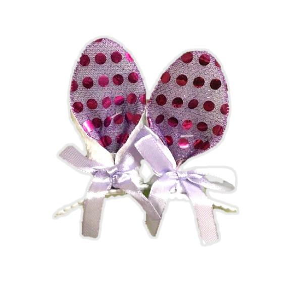 Clip-On Bunny Ears Hair Clips Purple Sequins Easter Rabbit Costume Accessory