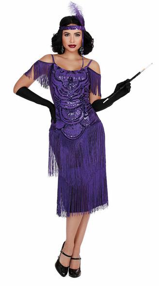 Dreamgirl Miss Ritz Purple Sequin Flapper Dress Adult Costume Women's SM-XL