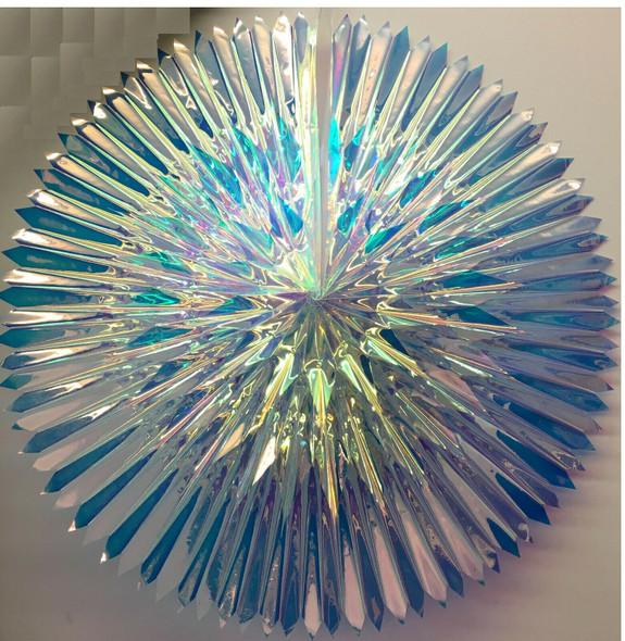 "24"" Iridescent Hanging Foldable Fan Pendant Party Decor Wedding Snowflake Prop"