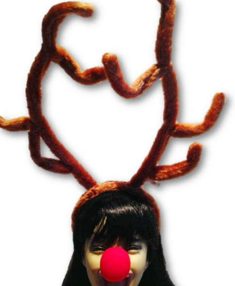 """Reindeer Antlers & Rudolph Red Nose 15"""" Tall Fur Christmas Costume Accessory New"""