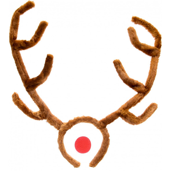 "Reindeer Antlers & Rudolph Red Nose 15"" Tall Fur Christmas Costume Accessory New"