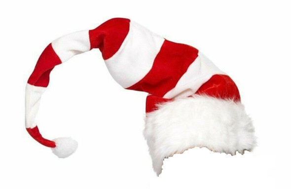Long Red & White Striped Santa Hat Christmas Holiday Child Costume Accessory