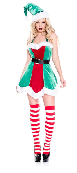 Music Legs North Pole Santa's Little Helper Sexy Elf Women's Costume Dress XS-XL