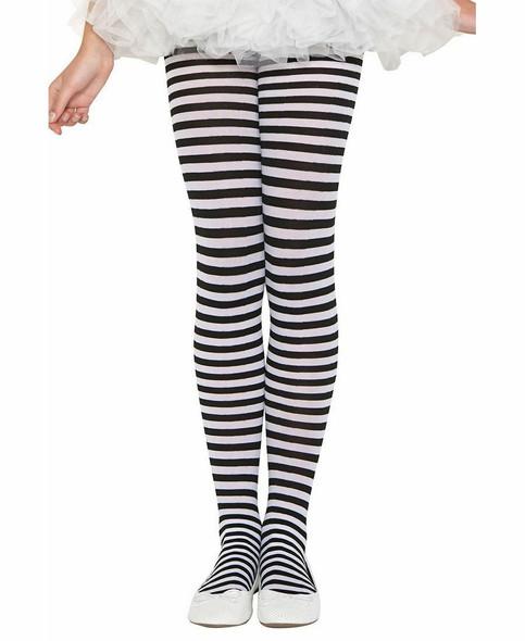Music Legs Black & White Striped Children Nylon Costume Tights Pantyhose SM-XL