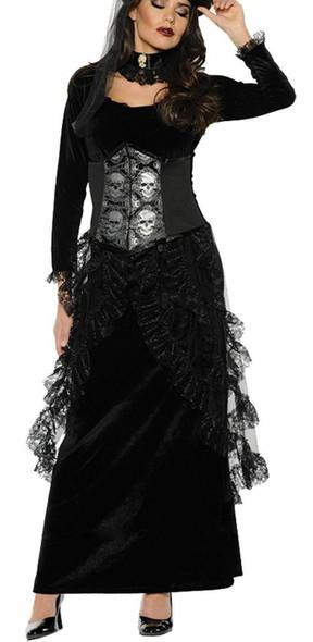 Dark Mistress Costume Adult Women Gothic Halloween Skull Cameo Dress Medium