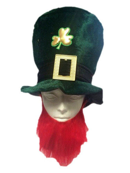 St. Patricks Day Green Hat & Beard Leprechaun Shamrock Costume Accessory