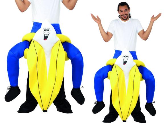 Piggyback Ride A Banana One Piece Costume Piggy Back Adult Funny Yellow Fruit
