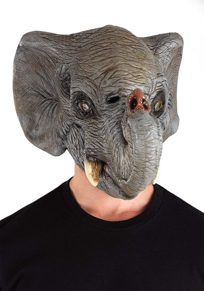Deluxe Elephant Head Latex Mask Full Overhead Grey Zoo Safari Wild Animal Adult
