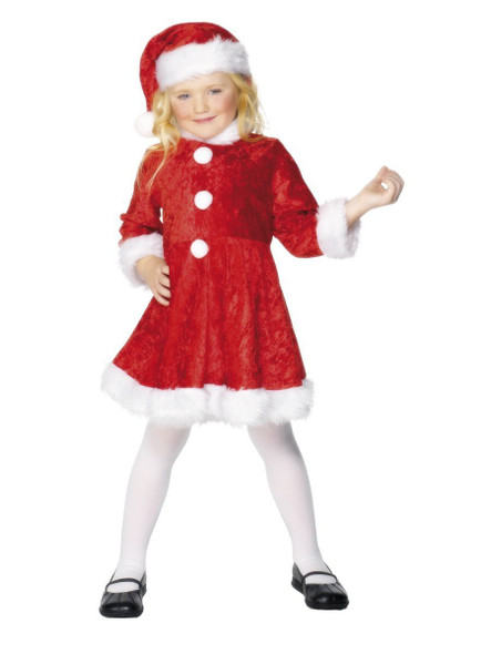 Mini Miss Santa Costume Girls Christmas Elf Mrs. Claus Fancy Dress Small