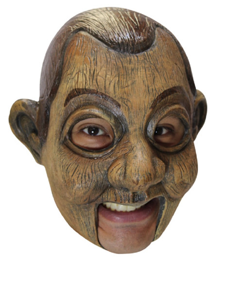 Jimmy Puppet Adult Open Mouth Latex Mask Creepy Scary Wooden Halloween Accessory