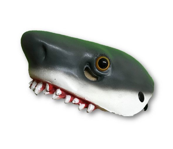 Shark Face Mask Or Headpiece Grey Jaws Foam Bloody Bite Costume Hat Accessory