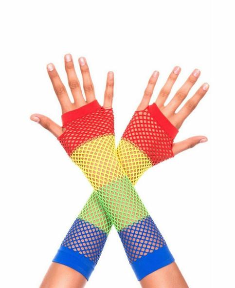 Rainbow Fishnet Fingerless Gloves Long 80s Pride Rave Roller Costume Accessory