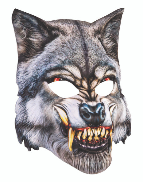 Grey Wolf Mask Soft Molded Face Mask Sublimated Screen Printed Snarling Beast