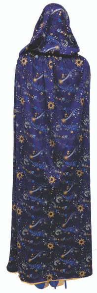 Celestial Blue Velvet Hooded Cape Moon Stars Adult Halloween Costume Accessory