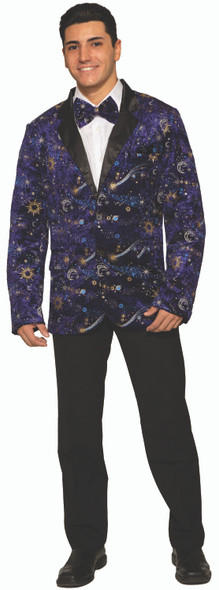 Celestial Men's Blazer & Bow Tie Adult Costume Wizard Blue Velvet Moon & Stars