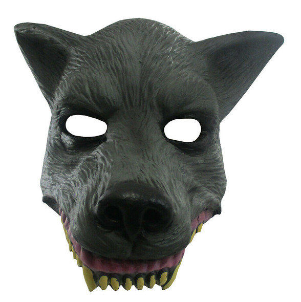 Grey Wolf Mask Soft Foam Face Mask Headpiece Gray Snarling Beast Halloween Acc.