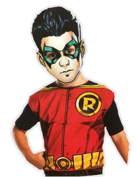 Robin Birthday Party Dress-Up Costume Set Boys Child Paper Mask Tunic Small