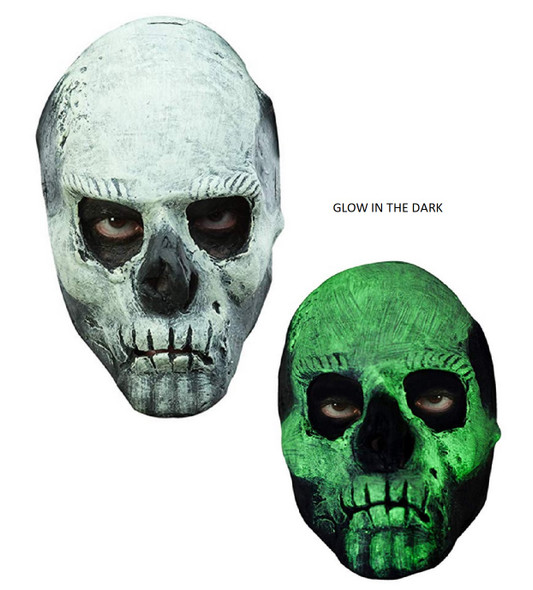 Glow In The Dark Skull Half Latex Face Mask GID Adult Teen Halloween Accessory