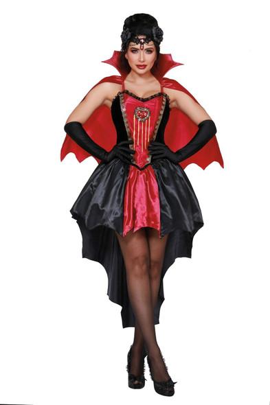 Dreamgirl Drop Dead Beautiful Costume Vampire Halloween Dress Black Red SM-XL