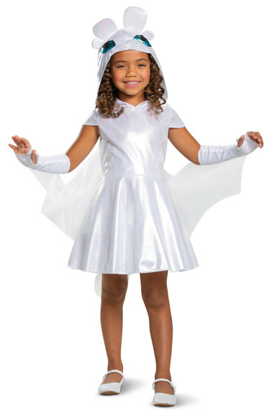 How To Train Your Dragon Light Fury Costume Fancy Dress Gown Child Girls XS-MD