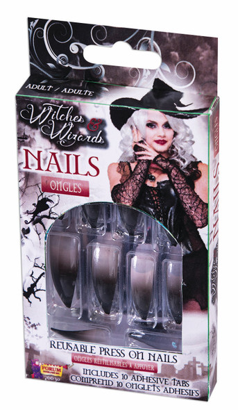 12 Witches Finger Nails Reusable Fake Press On Adult Women's Costume Accessory