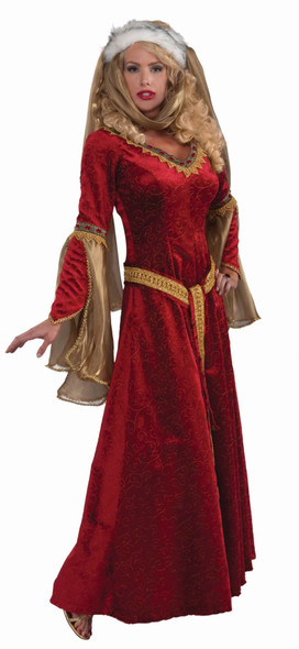 Women's Sexy Scarlet Renaissance Gown Costume Dress Red Velvet Adult Small 2-6