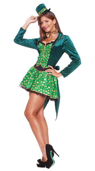 Sexy Leprechaun Adult Costume Dress Women's Luck of the Irish Cocktail Hat 2-6