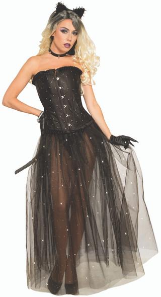 Black Mesh Overlay Skirt with Rhinestones Adult Costume Accessory Goth Crinoline
