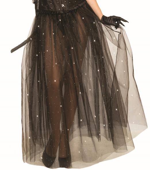 Long Black Tutu Mesh Skirt Rhinestones Women's Costume Accessory Goth Crinoline