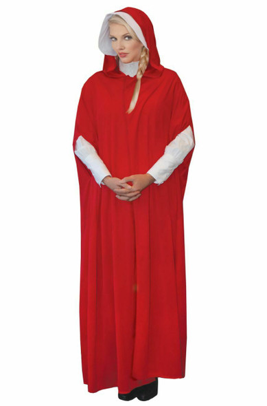 Red Maiden Handmaid's Tale Inspired Bonnet & Hooded Cape Adult Women's Costume