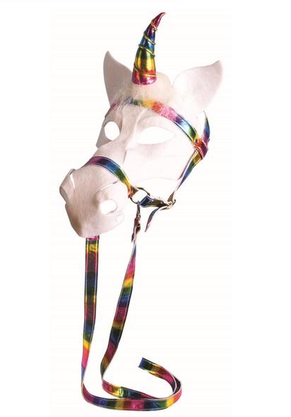 Rainbow White Unicorn Mask with Bridle Mystical Fantasy Animal Costume Accessory