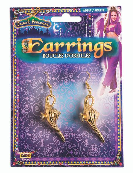 Gold Lamp Earrings Gypsy Aladdin Inspired Genie Halloween Costume Jewelry