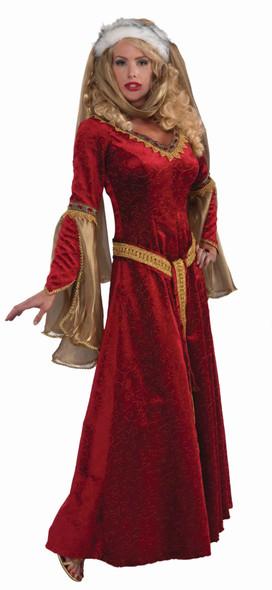Designer Scarlet Renaissance Gown Costume Dress Red Velvet Women's Large 14-16