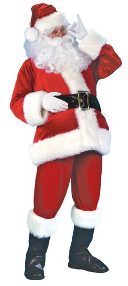 Quality Santa Claus Suit Costume Adult Boot Covers Belt Faux Fur Plus Size XL