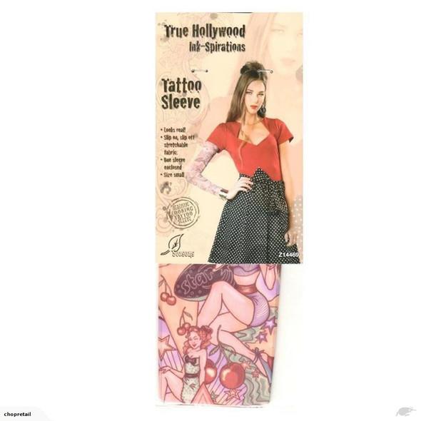 True Hollywood Ink-Spirations Tattoo Sleeve Looks Real! Rockabilly Womens SM