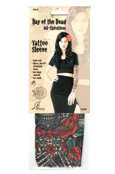 Day of the Dead Ink-Spirations Tattoo Sleeve Looks Real! Sugar Skull Womens SM