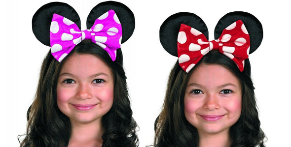 Licensed Disney Junior Minnie Mouse Headband With Ears Reversible Bow Child Size