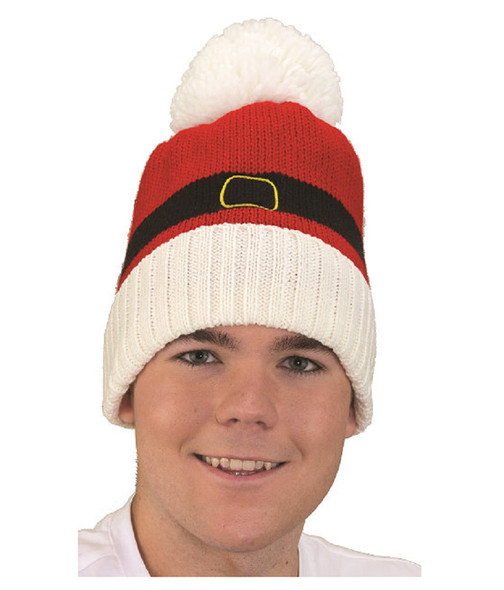 Santa Pants Theme Knitted Beanie Hat Christmas Holiday Pompom Winter Tuque