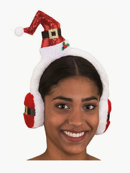 Mini Santa Hat With Earmuffs Headpiece Christmas Holiday Costume Accessory