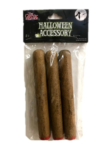"""6"""" Set of 3 Fake Faux Cigar Gangster Costume Accessory Stogy Prop Fire Red Tip"""