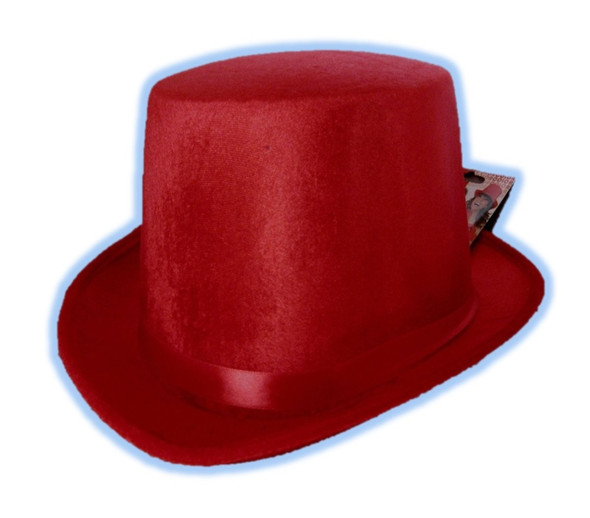 Red Top Hat Coachman Victorian Adult Men Costume Accessory Velvet Christmas New