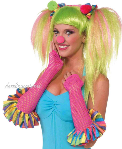 Pink Fishnet Clown Gloves Sweetie Women's Adult Circus Costume Accessory Pink
